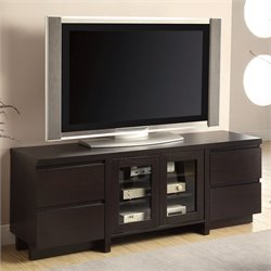 Bowery Hill Contemporary TV Stand with Glass Doors in Cappuccino