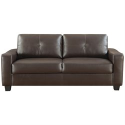 Bowery Hill Leather Sofa in Dark Brown