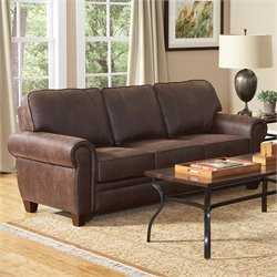 Bowery Hill Elegant and Rustic Microfiber Sofa in Brown