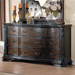 Bowery Hill 9 Drawer Dresser in Brown Cherry