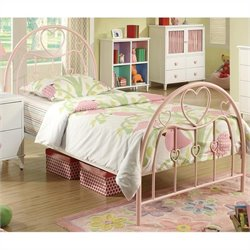 Bowery Hill Twin Metal Bed in Pink