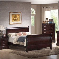 Bowery Hill Queen Sleigh Bed in Cappuccino