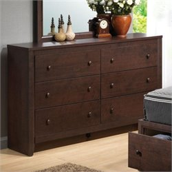 Bowery Hill 6 Drawer Double Dresser in Chery