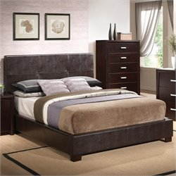 Bowery Hill Queen Vinyl Padded Bed in Cappuccino Brown