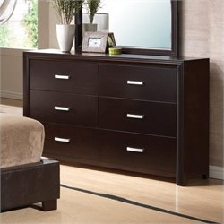 Bowery Hill 6 Drawer Double Dresser in Cappuccino Brown