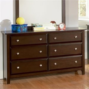 Bowery Hill 6 Drawer Double Dresser in Rich Cappuccino