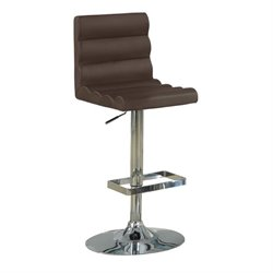 Bowery Hill Contemporary Adjustable Bar Stool with Roll Back in Brown