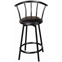 MER-757 Bowery Hill Upholstered Swivel Stool in Black