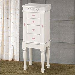 Bowery Hill Jewelry Armoire with Felt Lining in White