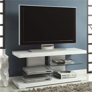Bowery Hill TV Stand with Alternating Glass Shelves in White