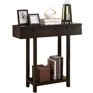 Bowery Hill Modern Entry Table with Lower Shelf in Cappuccino