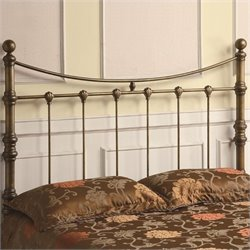 Bowery Hill Queen Iron Headboard in Antique Gold
