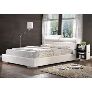 Bowery Hill Leather Upholstered Bed in White