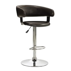 Bowery Hill Adjustable Rounded Back Bar Stool in Brown