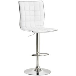 Bowery Hill Adjustable Waffle Bar Stool in White