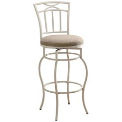 MER-757 Bowery Hill Metal Stool with Upholstered Seat in White