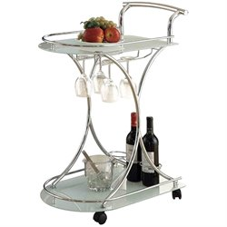 MER-757 Bowery Hill Serving Cart with 2 Frosted Glass Shelves