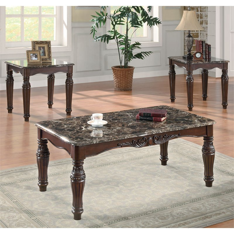 Merveilleux Bowery Hill 3 Piece Faux Marble Coffee Table Set In Cherry