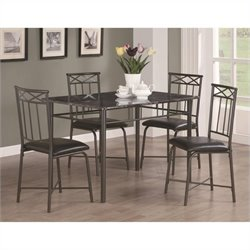 Bowery Hill 5 Piece Dining Set in Dark Metal