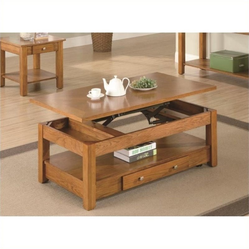Bowery Hill Lift Top Coffee Table In Oak Bh 466565