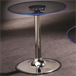 Bowery Hill Round LED Glass Top End Table in Chrome