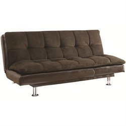 Bowery Hill Extra Plush Convertible Armless Sofa Bed in Brown