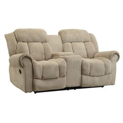 Bowery Hill Fabric Reclining Loveseat in Brown