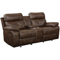 Bowery Hill Faux Leather Motion Glider Reclining Loveseat in Brown