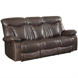 Bowery Hill Faux Leather Motion Reclining Sofa in Dark Brown