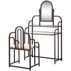 Bowery Hill 2 Piece Traditional Vanity Set in Cappuccino