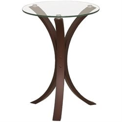 Bowery Hill Glass Top Accent Table in Cappucino