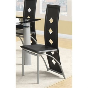 Bowery Hill Square Pattern Dining Side Chair in Black