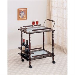 Bowery Hill Glass Top Bar Cart in Cherry