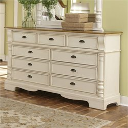 Bowery Hill 9 Drawer Dresser in Brown and Buttermilk