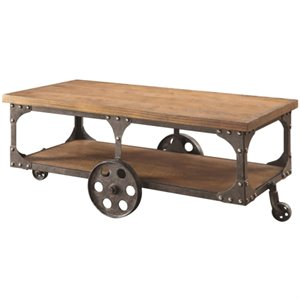 Bowery Hill Industrial Modern Coffee Table in Rustic Brown