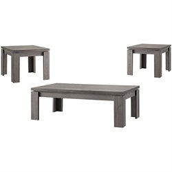 Bowery Hill 3 Piece Weathered Coffee Table Set in Dark Gray