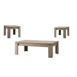 Bowery Hill 3 Piece Weathered Coffee Table Set in Brown