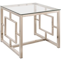 Bowery Hill Square Glass Top Contemporary End Table in Satin Nickel