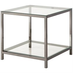 Bowery Hill Metal and Glass End Table in Black Nickel