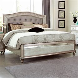 Bowery Hill Upholstered Queen Panel Bed in Metallic Platinum