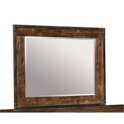 Bowery Hill Pewter Coated Metal Mirror in Weathered Acacia