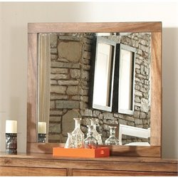 Bowery Hill Beveled Glass Mirror in Natural Brown