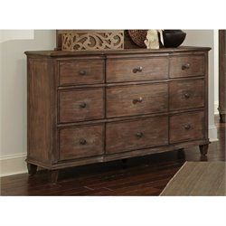 Bowery Hill 9 Drawer Dresser in Wire Brushed Mushroom