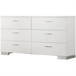 Bowery Hill 6 Drawer Dresser in High Gloss White