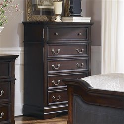 Bowery Hill 5 Drawer Chest in Dark Cherry