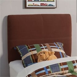 Bowery Hill Upholstered Twin Headboard in Chocolate