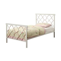 Bowery Hill Twin Metal Bed in White