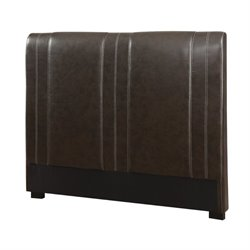 Bowery Hill Queen Faux Leather Headboard in Brown