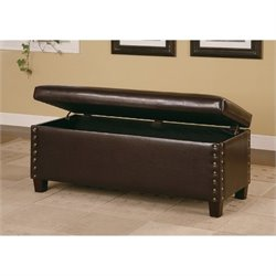 Bowery Hill Faux Leather Storage Bedroom Bench in Brown