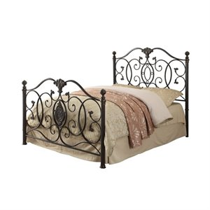 Bowery Hill Metal Bed with Headboard in Black Brush Gold